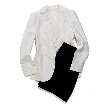 Bottega Veneta tuxedo with white jacket and black pants