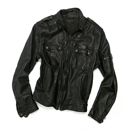 "Rag & Bone distressed leather bomber  ""Rag & Bone combines luxury with just enough edginess to create the perfect leather bomber."""