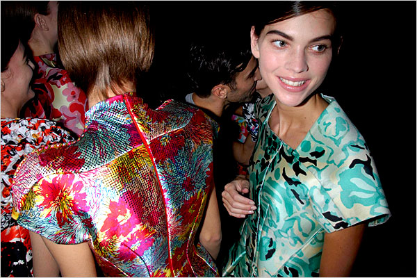 Backstage after the Balenciaga show