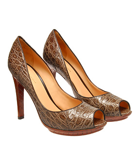 Bottega Veneta Crocodile Leather Peep Toe Shoes