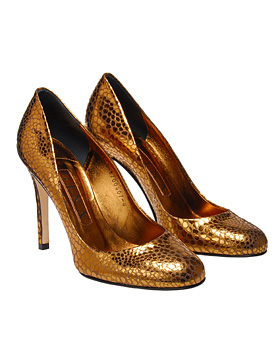 Gina Metallic round toe pump