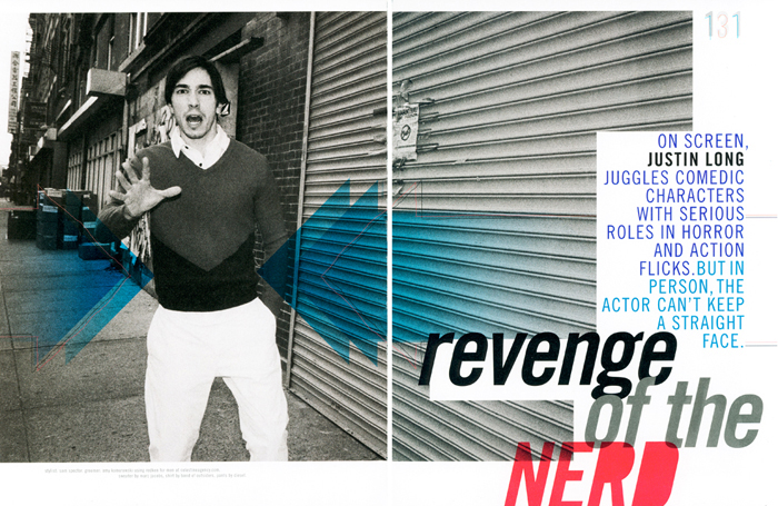 Actor Justin Long photographed for NYLON guys magazine.