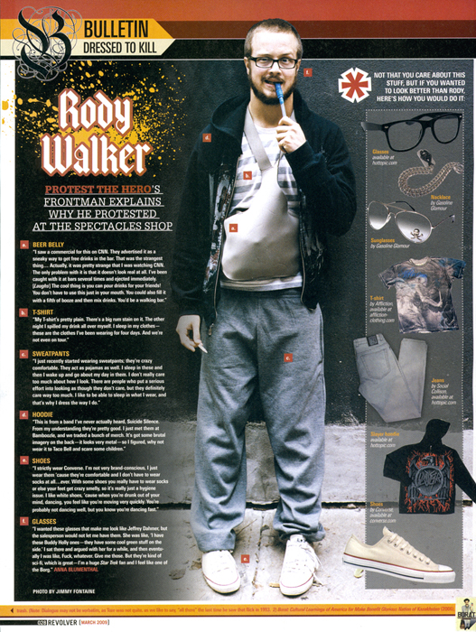 Rody Walker of Protest the Hero photographed for Revolver Magazine.