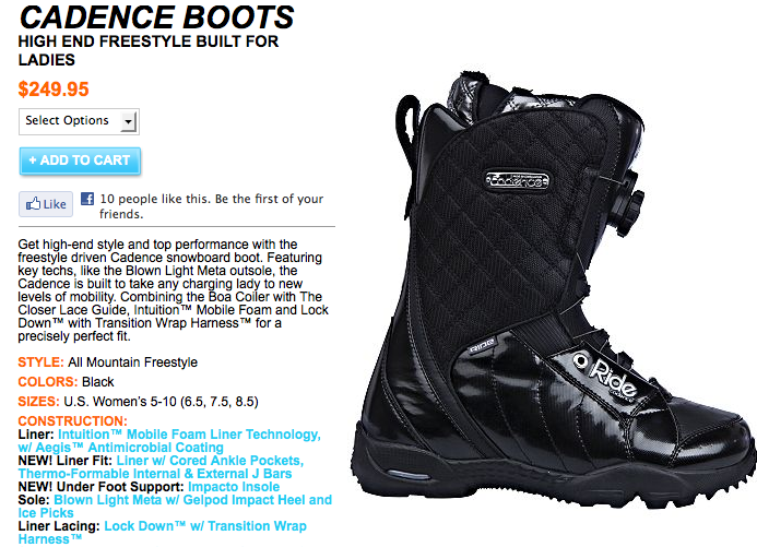 Ride Cadence Boot.