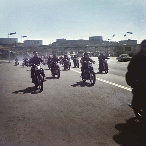 Image credit: Hunter S. Thompson. Hell's Angels, Riding, California c. 1960s. Courtesy M+B Art